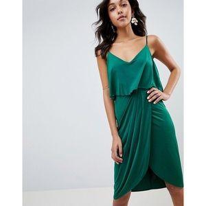 ASOS DESIGN Green Slinky Wrap Midi Dress